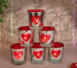 TiedRibbons Valentines for Girlfriend Boyfriend Set of 6 Red Heart Tealight Candle Holder(6 cm x ...
