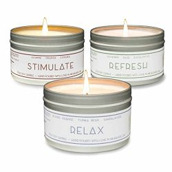 Gold Wave Goods Scented Candles – Relax (Blood Orange/Sandalwood), Refresh (Eucalyptus), Stimula ...