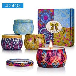 Y YUEGANG Scented Candles Gift Sets, Natural Soy Wax 4.4 Oz Unit Portable Travel Tin Perfect for ...