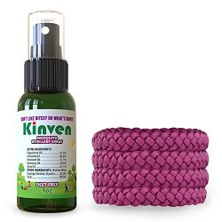 Kinven Mosquito Repellent Bundle – Bracelets & Spray Repel Mosquitos, Waterproof, Natu ...