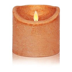 Flameless Candles Flickering LED Moving Flames H4″ D4″ Battery Operated Real Wax Led ...