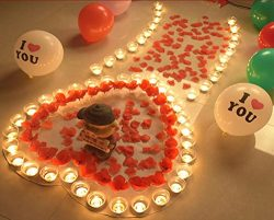 Valentine's Day Romantic Confession Decoration Pack, Tealight Candles & Floating Silk  ...