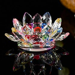 Hot Sale!DEESEE(TM)7 Colors Crystal Glass Lotus Flower Candle Tea Light Holder Buddhist Candlest ...