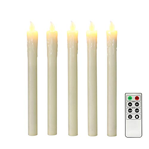 Ivory 10″ Flameless Taper Candles with Timer, Battery Operated Candles, Push-Activated, Wa ...