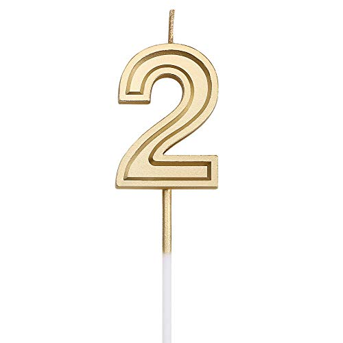 URAQT Birthday Candles Numbers, Gold Glitter Birthday Numeral Candles for Birthdays, Weddings, R ...