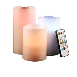 GEANOV Flameless Candles 4″ 5″ 6″ Set of 3 Ivory Dripless Real Wax Pillars Inc ...