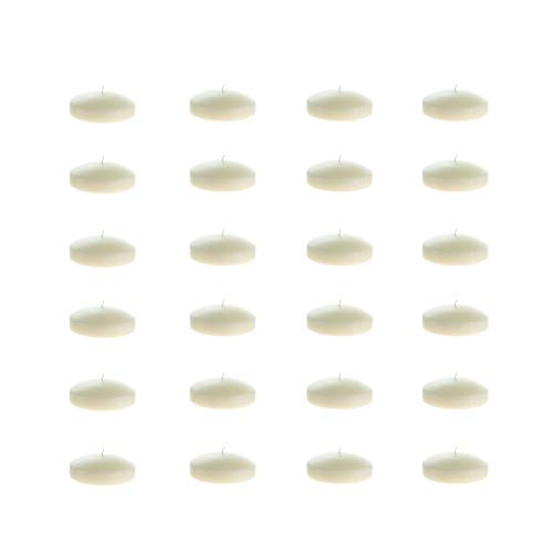 Mega Candles 48 pcs Unscented Ivory Floating Disc Candle | Hand Poured Paraffin Wax Candles 3 ...