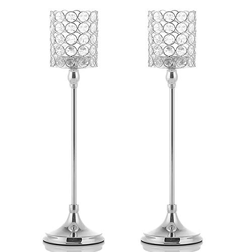 VINCIGANT 2PCS 18 Inches Silver Crystal Tea Light Candle Holders for Mothers Day Coffee Table De ...