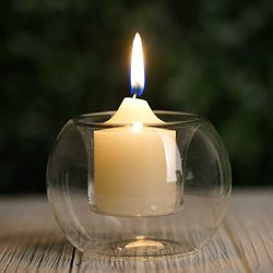 BalsaCircle Set of 6 Clear Glass Globe Votive Candle Holders – Wedding Party Birthday Cent ...