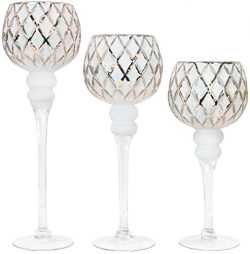 Galashield Glass Candle Holders Set of 3 Tealight Candle Stand Silver/White (16″, 13.5&#82 ...