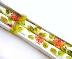 Decorative Dripless Hand Painted Peach Pink Gerbera Daisy Flower Taper Candles Floral Spring Dec ...