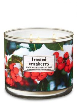 Bath and Body Works 3 Wick Scented Candle Frosted Cranberry 14.5 Ounce