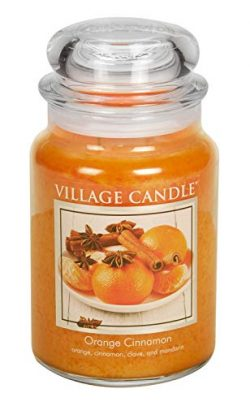 Village Candle Orange Cinnamon 26 oz Glass Jar Scented Candle, Large