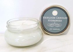 Floral Candle – Hydrangea Scented Soy Candle – Handmade Glass Jar, 6oz