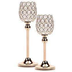 Gold Crystal Candle Holders Set of 2, Tall Tealight Candle Holders Centerpieces for Dining Room  ...