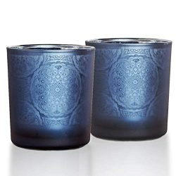 lEPECQ Bathroom Decor Candle Holders, Blue Votive Candle Holder, 3.14″ Height(Set of 2) Te ...