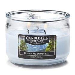 Candle-Lite Everyday Scented Hidden Mountain Pass 3-Wick Jar Candle 10 oz. Light Blue