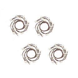 LampLust Spring Taper Candle Rings – White Pip Berries on Small Brown Wreath, Fits Traditi ...