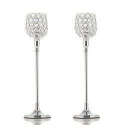 VINCIGANT Silver Crystal Candle Holders/Pillar Candlestick Set for Mother's Day Dinner Tab ...