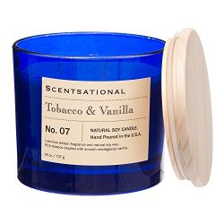 Scentsational Hint of Tobacco Leaf and Vanilla Apothecary Hand-Poured Soy Candle – 3-Wick, ...