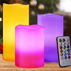 HOME MOST Set of 3 Flickering Real Wax Flameless LED Pillar Candles with Remote 3×4 3× ...