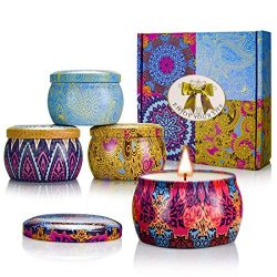 YMING Scented Candles Gift Sets – Natural Soy Wax Votive Candle 4.4 Oz Portable Travel Tin ...