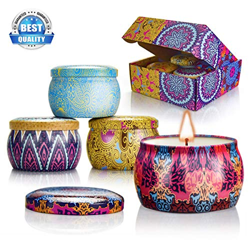 Scented Candles Gift Sets, Natural Soy Wax Aromatherapy Candles Portable Travel Tin Candles Wome ...