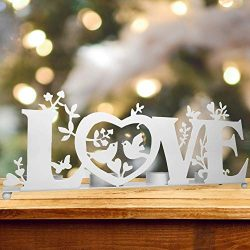 BANBERRY DESIGNS Love Candle Holder – Tea Light Candle Holder with Love, Birds and Vines & ...