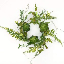 idyllic 14″ Artificial Wreath Green with Succulents and Leaves for The Front Door by Pure  ...