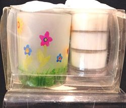 Floral Tealight/Votive Candle Holder, Round Candle Holder, Spring Design Candle Holder