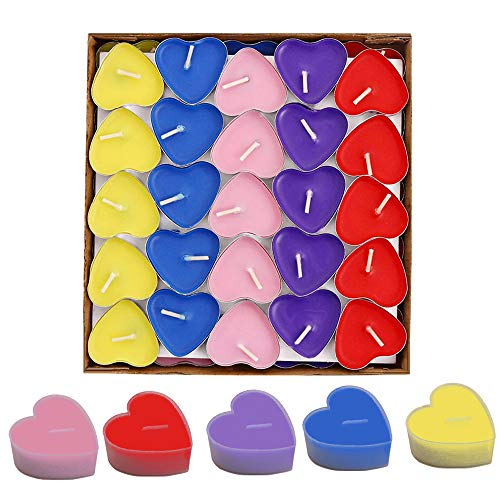 Simuer 50 Pack Heart Shaped Unscented Tea Lights Candles Smokeless Candles