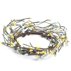 Set of 6 Hand Wrapped Sunny Yellow, Blue and Spring Green Pipberry Candle Rings for Decorating