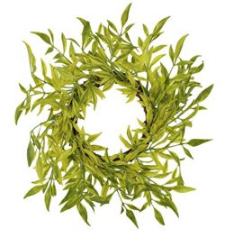 7-inch (3.4-Inch Inner Ring) Artificial Spring Green Smilax Foliage Candlering Candle Ring (Sing ...