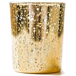 Vizayo Gold Mercury Glass Votive Tealight Candle Holders (Set of 24) – Unique Dotted Style ...