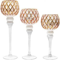 Galashield Glass Candle Holders Set of 3 Tealight Candle Stand Gold/White (16″, 13.5&#8243 ...