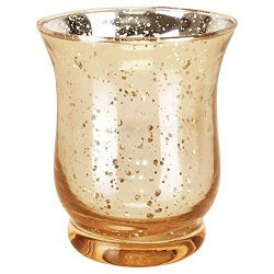 Just Artifacts Mercury Glass Hurricane Votive Candle Holder 6″ H (1pc, Speckled Gold) &#82 ...