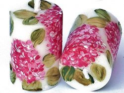 Set of Two Hand Painted Pink Hydrangea Flower Small Votive Candles Shabby Chic Floral Spring Dec ...