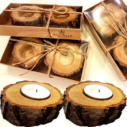 Rustic Candle Holder – Wooden Tealight Tree Candle Holders – Succulent Planter for R ...
