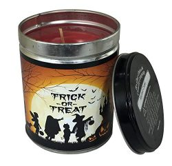Our Own Candle Company Mulled Cider Scented Candle in 13 Ounce Tin with a Trick or Treat Hallowe ...