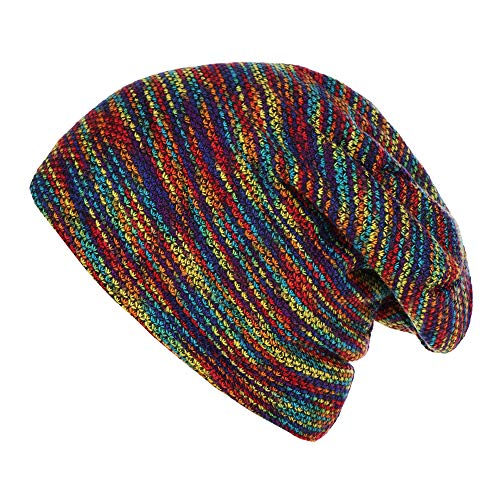 LtrottedJ Fashion Women Mens Warm Striped Knitted Outdoors Casual Hat Ruffle Wrap Cap (Multicolor)
