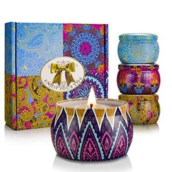 YINUO LIGHT Scented Candles Gift Set, 100% Natural Soy Wax Travel Tin Candles for Stress Relief  ...