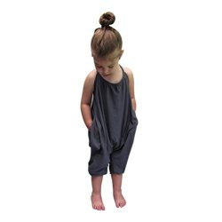 Franterd Baby Girls Straps Rompers, Kid Jumpsuits Piece Pants Clothing (Gray, 12-18m)