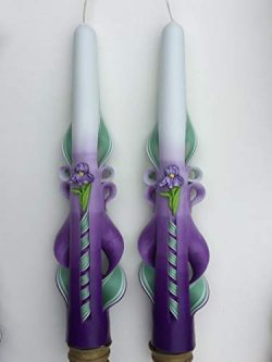 Carved Taper Candles (10 inch) with Iris Accent for Spring Decor