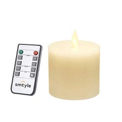 smtyle 3 x 3 inch Moving Flame Battery Operated Candles with LED Flameless Flickering Wick and T ...