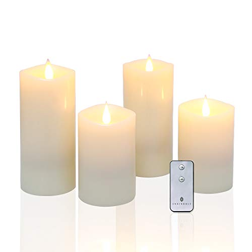 "Flameless Candles LED Pillar Candles with Rose Scent & 3D Flickering Wick Set of 4 (H5""7""x D ..."