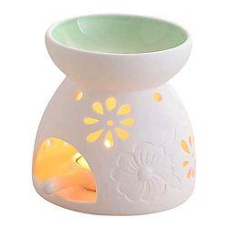 Singeek Ceramic Tea Light Candle Holder/Wax Melt Warmer, Essential Oil Burner Aromatherapy Diffu ...