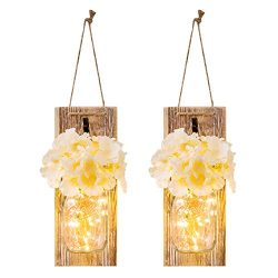 Chen Mason Jar Sconces with LED – Fairy Lights,Vintage Wrought Iron Hooks, Silk Hydrangea  ...