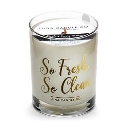 Natural Soy Wax Fresh Linen Scented Candle With Long Burn Time of 110 Hours, 11 oz Glass Jar- So ...