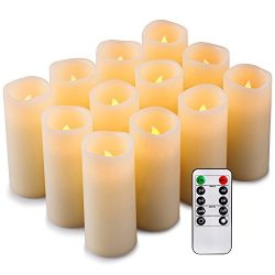 Enpornk Set of 12 Flameless Candles Battery Operated LED Pillar Real Wax Flickering Electric Uns ...