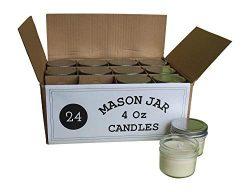 Set of 24 Bulk Wholesale Mini Mason Jar Candles – 4 Ounce – Perfect for Weddings, Re ...